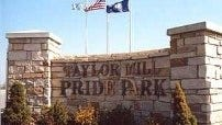 A welcome sign to Taylor Mill's Pride Park.