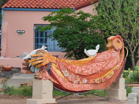 Artist Mago Gandara's 12-foot sculpture of Francis