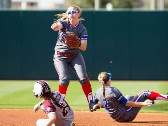 Katie Smith fires to first during a Lady Techsters'