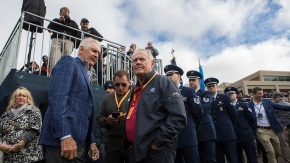 Jack Nicklaus and Andy North speak at the Sanford International opening ceremony on Friday, Sept. 21, 2018 in Minnehaha Country Club in Sioux Falls, S.D.