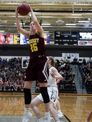 Ankeny's Sara McCullough (25) pulls down a rebound during a basketball game between the Ankeny Hawks and the Ankeny Centennial Jaguars last season.