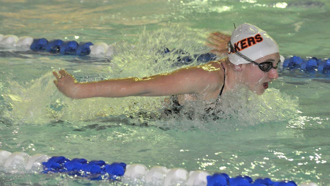 Kaylee Smith of Mountain Lakes swims in the 200 medley relay at the NJSIAA North 1-C girls swimming sectional finals at Passaic Tech.