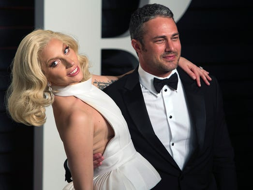 US singer Lady Gaga and her partner US actor Taylor