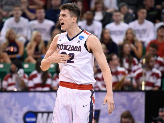 Zach Collins reacts during a game against the Northwestern