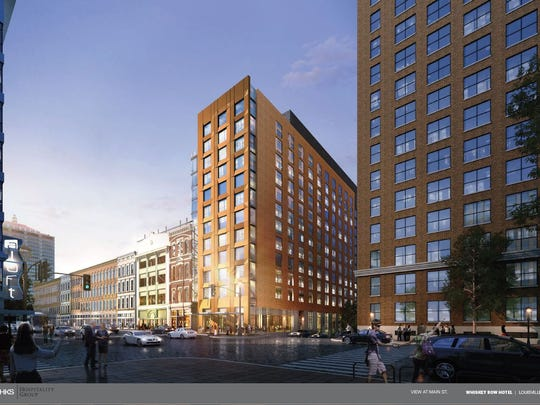 A rendering of a new hotel project on Whiskey Row. This view is from Main Street.