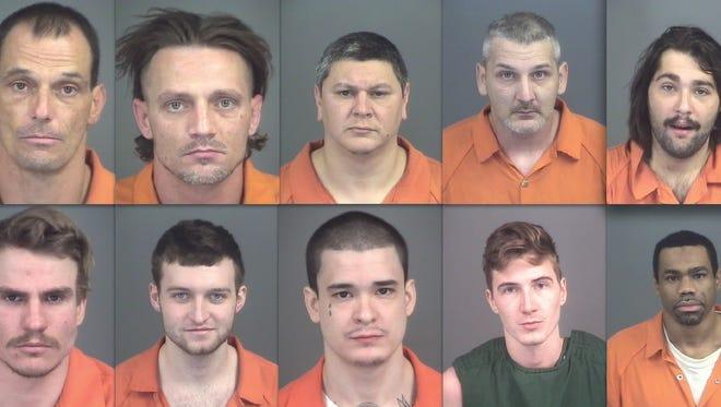 Top row, from left: Jonathan Cogar, Lawrence Dixon, Luis Martinez, Daniel Myers and Thomas Gibney. Bottom row: Jacob Braun, Ronald Kennedy, Christopher Smith, Tyler Buckley and Scott Weddington.