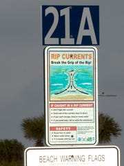 An example of the new mile markers that will be install on Santa Rosa island, designed to help simplify emergency calls on Pensacola Beach.