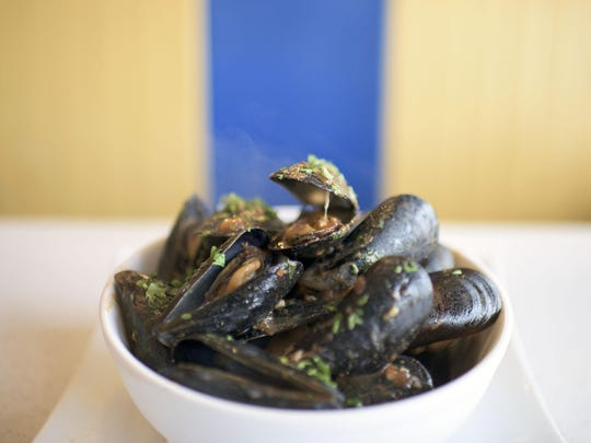 A mussels with red sauce dish from Mugshot Diner in Philadelphia.