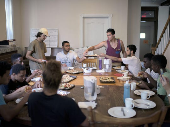 Urban gardeners gather for lunch one afternoon last