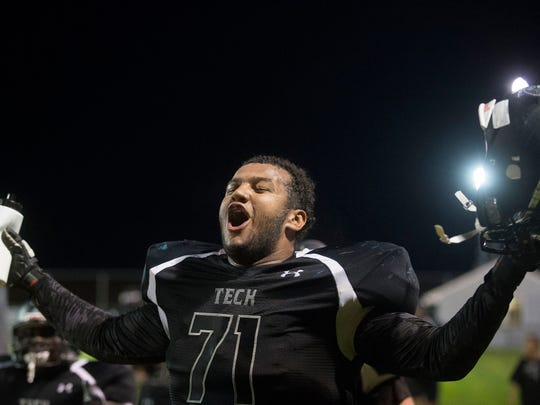 Sussex Tech's William Ball celebrates as Tech seals