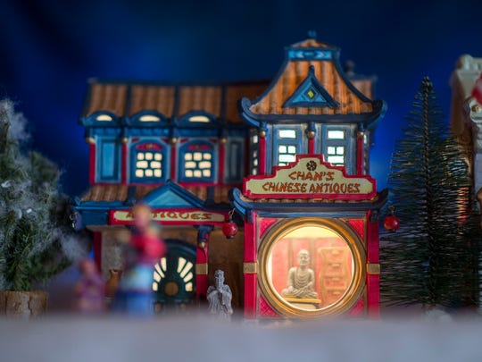 A model antique shop on display amongst the Edwards' Christmas Village in Lewes.