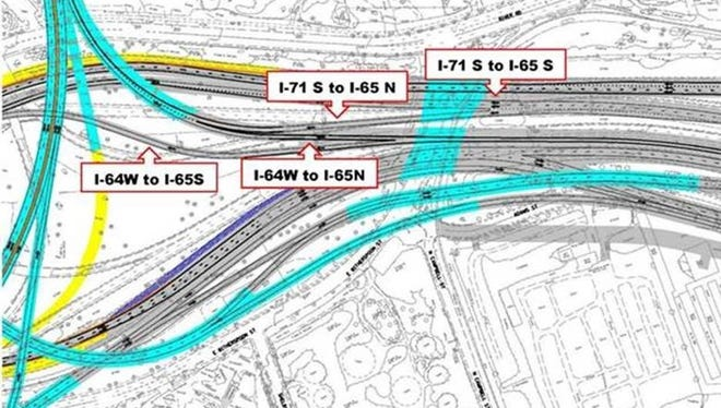 A new roadway is opening for drivers using 1-71 South, meaning drivers traveling from I-71 South to I-65 will have a dedicated lane and will no longer merge with drivers on I-64 West.