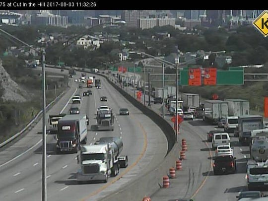 Northbound traffic ahead of the Brent Spence Bridge