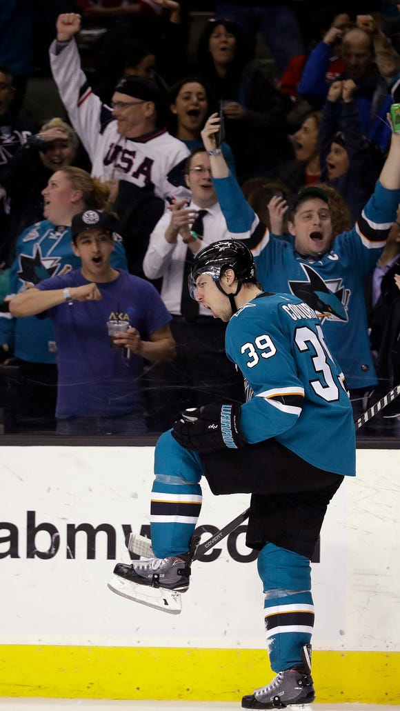 San Jose Sharks' Logan Couture celebrates after scoring against the New Jersey Devils during the second period of an NHL hockey game Tuesday, March 20, 2018, in San Jose, Calif. (AP Photo/Marcio Jose Sanchez)