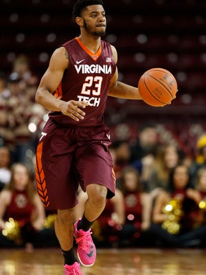 Virginia Tech guard Jalen Hudson (23) controls the ball during the first half against the Boston College Eagles at Silvio O. Conte Forum on Feb. 23, 2016.