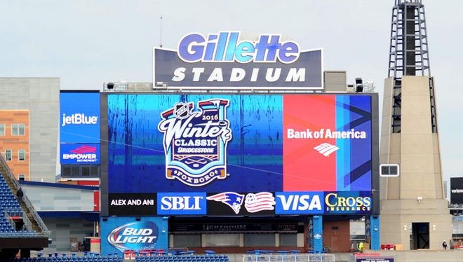 The Winter Classic logo is displayed on the jumbotron during a media photo opportunity in advance of the Winter Classic between the Boston Bruins and Montreal Canadiens at Gillette Stadium.