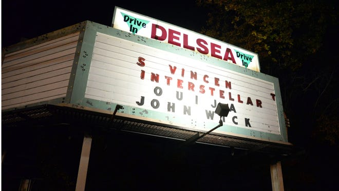 The Delsea Drive-In marquee in Vineland is seen on Saturday, November 8, 2014.