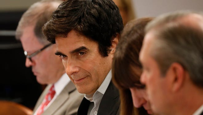 Illusionist David Copperfield appears in court Tuesday, April 17, 2018, in Las Vegas.