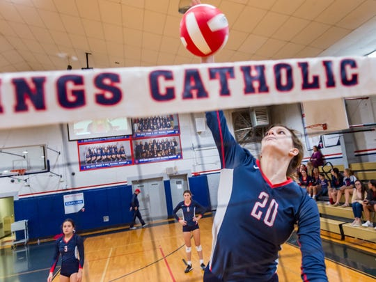 Rebels hitter Cicily Hidalgo during pregame as the Teurlings Catholic Rebels take on Lagrange in the first round of the State Volleyball playoffs. Thursday, Nov. 1, 2018.