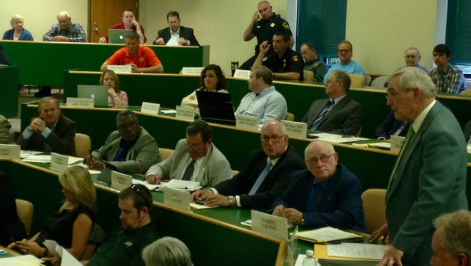 Madison County Commissioner Billy Spain speaks at the Madison County Commission meeting Monday night.