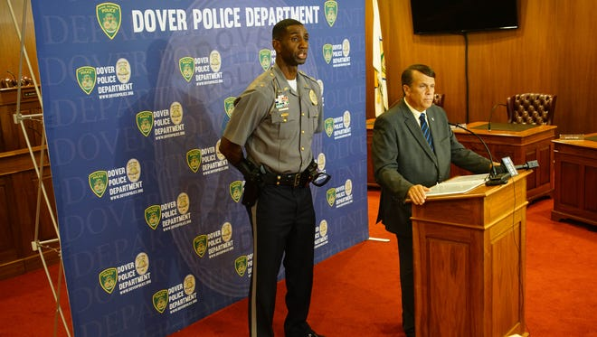 Dover Police Chief Marvin C. Mailey and Mayor Robin R. Christiansen speak at a press conference in May at City Hall Council Chambers regarding the number of recent shootings in the city.