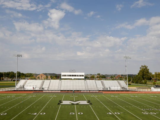 Mason High School football field. Photo shot Wednesday October 5, 2016.
