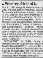 Death notice for Richard Peartree published in the
