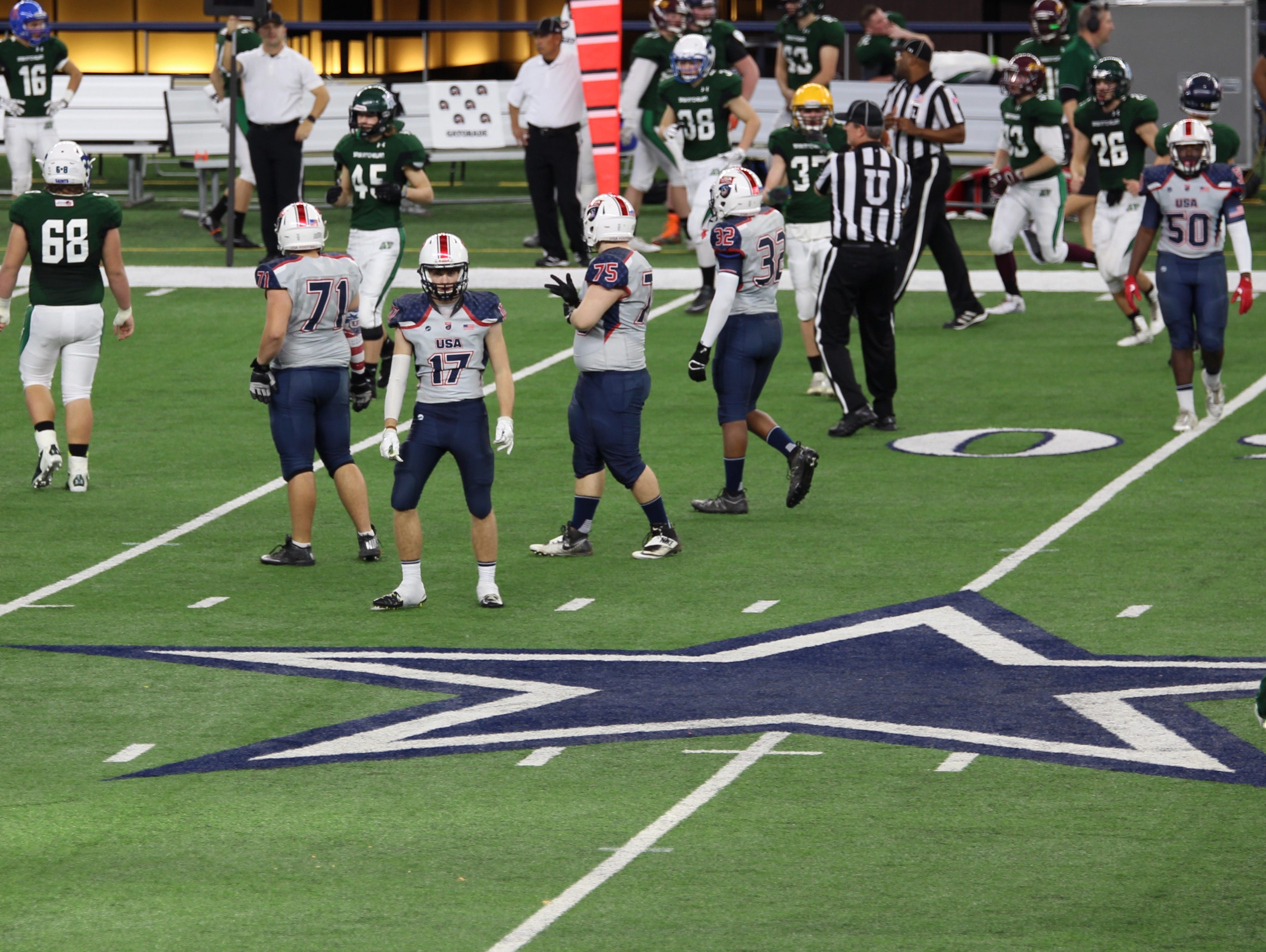 DeSales sophomore Cameron Perry (No. 17) suited up for the U.S. Under-17 Select Team at the International Bowl on Monday January 16 at AT&T Stadium in Arlington, Texas