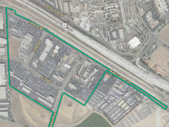Map shows the new boundaries for the Ventura Auto Center Specific Plan.