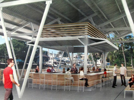 A rendering of the covered bar and seating area of the food truck park planned along Haldeman Creek at Becca Avenue and Bayshore Drive in East Naples.