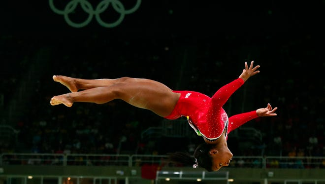 Simone Biles (USA) during the women's balance beam finals in the Rio 2016 Summer Olympic Games  at Rio Olympic Arena.