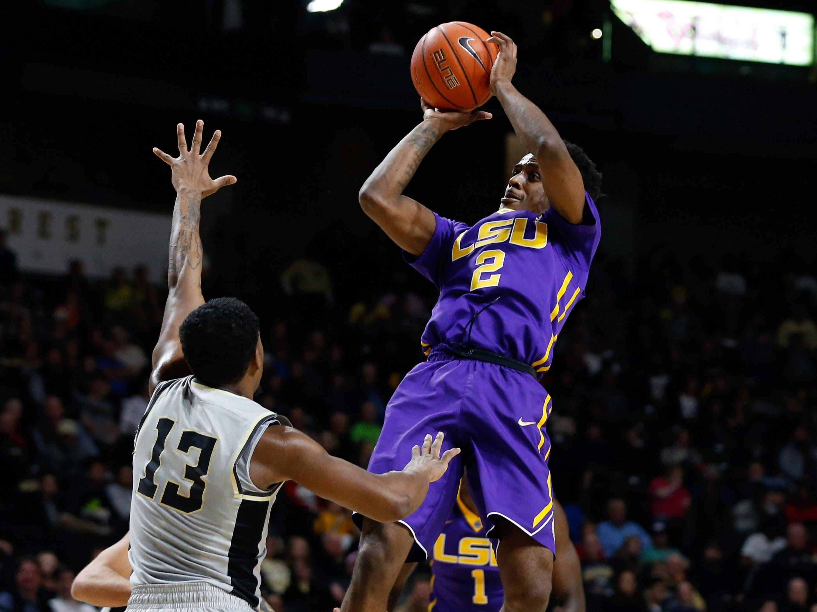 LSU Tigers guard Antonio Blakeney (2) shoots the ball over Wake Forest Demon Deacons guard Bryant Crawford (13) in the second half at Lawrence Joel Veterans Memorial Coliseum. Wake defeated LSU 110-76.