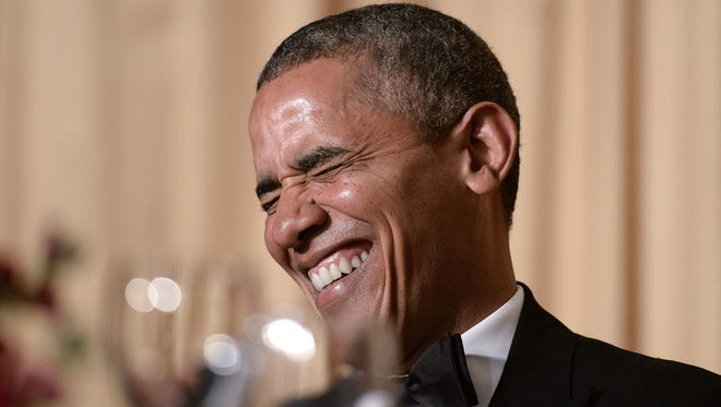 President Obama attends the annual White House Correspondents' dinner at the Washington Hilton on May 3, 2014.