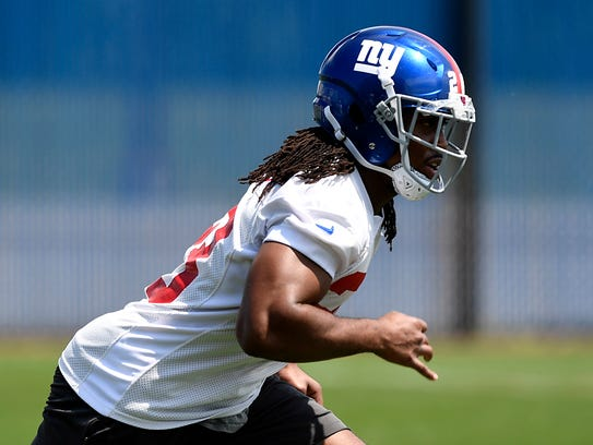 New York Giants running back Paul Perkins seen during