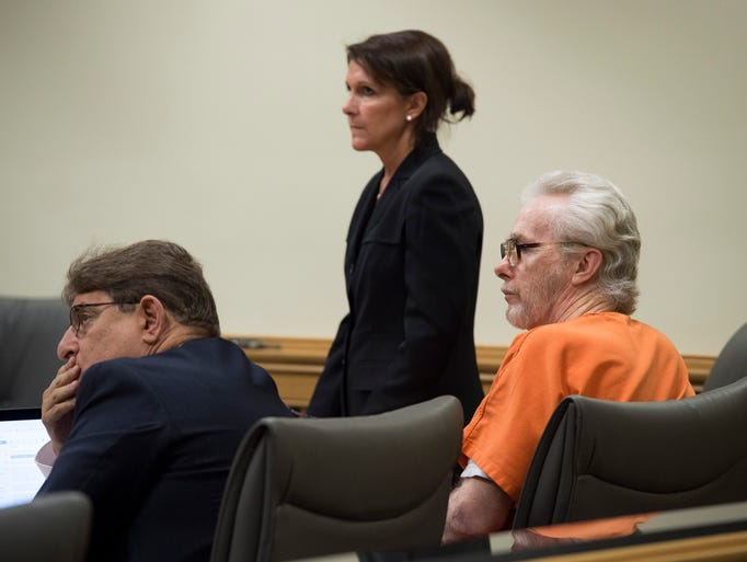 James Morgan (right), who killed 66-year-old Gertrude