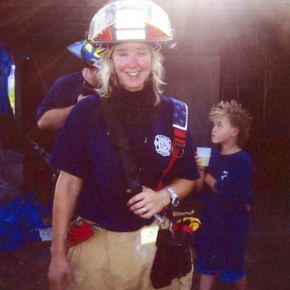 Brandy Hall,  a Malabar volunteer firefighter, has