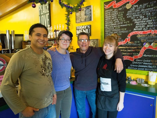 The staff gather at Spirit Winds Gift Source and Coffee Bar, from left, Christian Sarmiento, Caitlin Talty, owner Richard Parra and June Robinson. Friday Dec. 15, 2017.