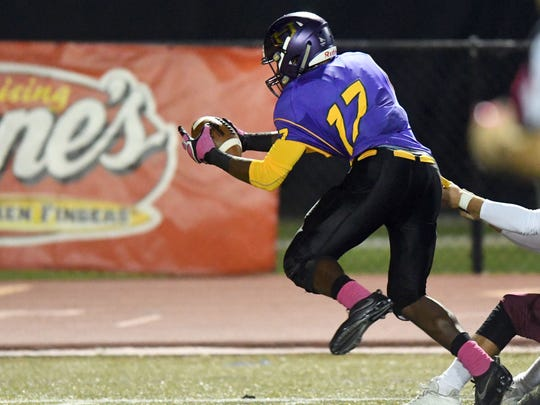 Hattiesburg High player William Robinson recovers the ball for a touchdown in a game against Long Beach on Thursday.