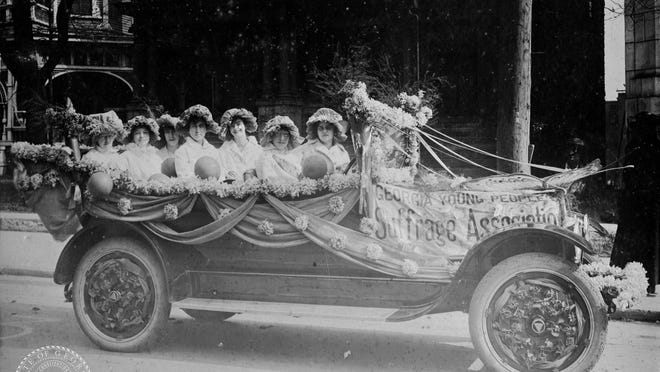 The League of Women Voters of Coastal Georgia will host a car parade on Aug. 22 to commemorate the centennial anniversary of the 19th Amendment's ratification. Savannah Mayor Van Johnson is the grand marshal with Tybee Island Mayor Shirley Sessions and Richmond Hill Mayor Russ Carpenter among parade dignitaries. Shown: Georgia Young People Suffrage Association in an undated photo.