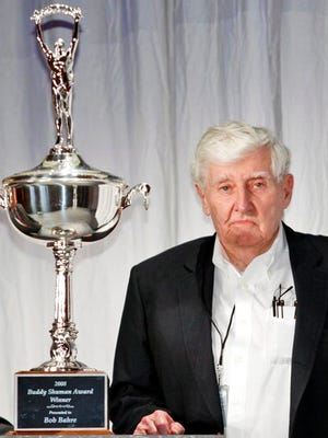 FILE - In this Dec. 4, 2008, file photo, Bob Bahre poses for photographers after being awarded the Buddy Shuman Award at the NASCAR Media Luncheon in New York. Bahre, who brought NASCAR racing to New England at the New Hampshire International Speedway, has died at his home in Maine at 93.