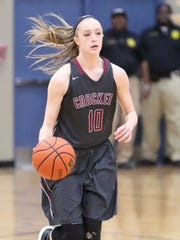 Crockett County's Elli Pratt brings the ball down the court Thursday night against South Gibson in the District 13-AA semifinals.