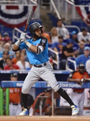 World infielder Amed Rosario (1) at bat in the first inning during the 2017 MLB Futures Game at Marlins Park in Miami on July 9, 2017.