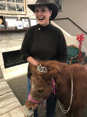 Sonrisas Public Relations Director Mary Coffey poses with Sunny the Miniature Horse as she models pearls and a tiara at Holland's Jewelers in downtown San Angelo on Thursday, Dec. 14, as part of a new video production for a fundraiser next year.