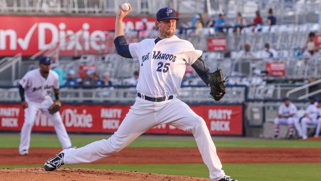 Pensacola's Deck McGuire (25) pitches against the Jacksonville Jumbo Shrimp at Blue Wahoos Stadium on Thursday, April 20, 2017.