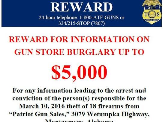 Eighteen guns were stolen from Patriot Gun Sales on