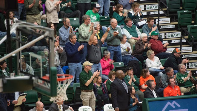 CSU fans cheer for the Rams during a game against New Mexico at Moby Arena on Wednesday, February 28, 2018 in Fort Collins, Colorado.