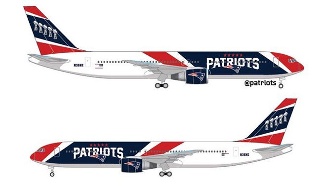 The New England Patriots released these images via Twitter of a Boeing 767 painted in the team's colors.
