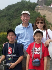 The Wu family on a trip to China. Sean Wu is on the