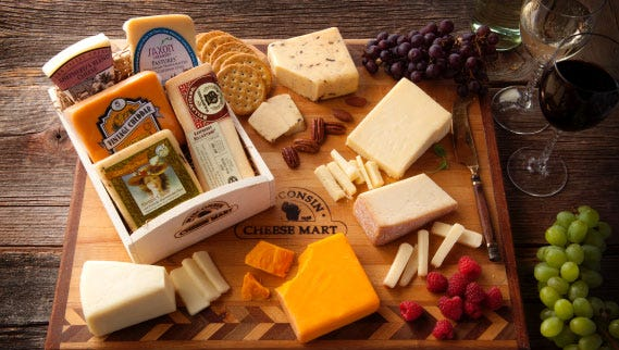 Wisconsin Cheese Mart's Wine Connoisseur Collection Gift Crate includes five award-winning Wisconsin cheeses that pair well with wine.