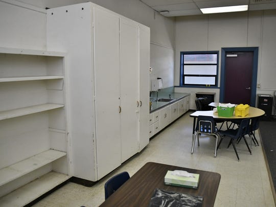 Storage space in a Goshen Elementary classroom is left